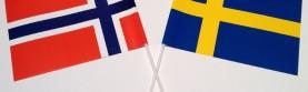 Svenska och Norska flaggor som lagervara